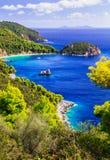 Schöne Strände und Beschaffenheit von Skopelos-Insel, Stafilos-Bucht stockfotografie