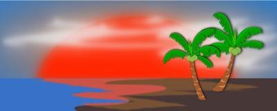 Schöne Strand-Szene und Sun-Illustration Vektor Abbildung
