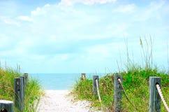 Schöne Strandpfadszene mit Sehafern Stockfotos