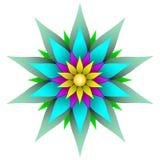 Schöne symmetrische geometrische Blumenvektorillustration stockbilder