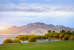 Schöne Szene des Morgensees in Neuseeland Stockfotos