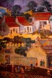 Schöne Szene gemalt auf einem Tempel, Ayutthaya, Thailand stockbild