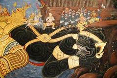 Schöne Szene gemalt auf einer Tempel-Wand Lizenzfreie Stockbilder