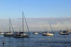 Schöne Szene von Segelbooten auf dem Wasser, Boston, Massachusetts, 2014 Stockbild