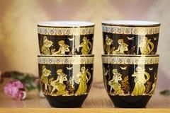 Schöne Teetassen und untertassen Stockfotografie