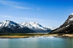 Schöne Tibet-Landschaft im Porzellan Stockfotos