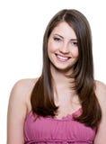 Schöne toothy lächelnde Frau stockbilder