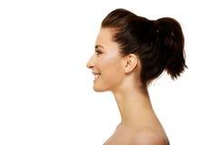 Schöne toothy lächelnde Frau mit bilden Stockfoto