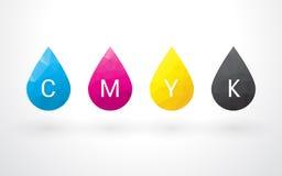 Schöne Tropfen der Farbe CMYK Stockbilder