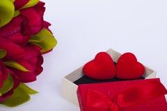 Schöne Tulpen und Herzen Stockfoto