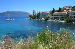 Schöne Uferlandschaft der ionischen Inseln Lizenzfreies Stockfoto
