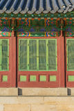 Schöne und alte Architektur in Changdeokgungs-Palast in Seoul lizenzfreies stockbild