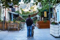 Schöne und alte Tiflis-Stadt am frühen Morgen Lizenzfreies Stockbild