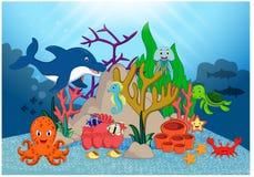 Schöne Unterwasserweltkarikatur lizenzfreie abbildung