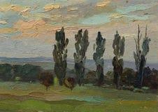Schöne ursprüngliche Ölgemälde-Landschaft auf Segeltuch Stockbild