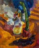 Schöne ursprüngliche Ölgemälde-Stilllebenflasche und -kaktus auf Segeltuch Stockfotografie