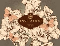 Schöne Vektorhochzeits-Einladungskarte in der Weinleseart Stockbilder