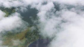 Schöne Vogelperspektive von beweglichen Wolken über schöner Landschaft stock footage