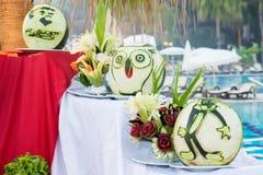 Schöne Wassermelone Carvings auf Ausstellung, Dekoration, handgemacht Stockfotografie