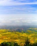 Schöne weiße nebelige Schicht über Weinbergen von Elsass, Frankreich stockbild