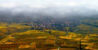 Schöne weiße nebelige Schicht über Weinbergen von Elsass, Frankreich lizenzfreie stockfotos