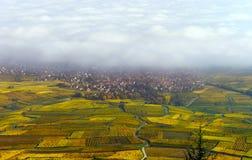 Schöne weiße nebelige Schicht über Weinbergen von Elsass, Frankreich stockfotos