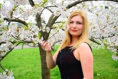 Schöne weibliche Aufstellung im Kirschblüte-Garten Stockfotos