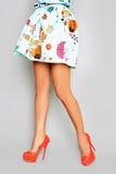 Schöne weibliche Beine in den Fersen Stockfoto