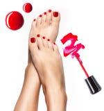 Schöne weibliche Beine mit roter Pediküre und Nagellack Stockbild