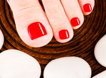 Schöne weibliche Füße mit roter Pediküre Lizenzfreies Stockfoto