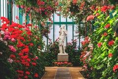 Schöne weibliche Statue in der bunten blühenden Orangerie Königliche Gewächshäuser von Laken in Belgien Stockbilder
