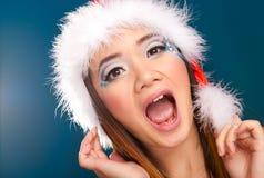 Schöne Weihnachtsfrau Stockfotos
