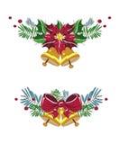 Schöne Weihnachtsglocken Auch im corel abgehobenen Betrag Blumenpoinsettia stock abbildung