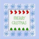 Schöne Weihnachtskarte mit Weihnachtsbaum, Schneeflocken und Socken des neuen Jahres Vektor lizenzfreie abbildung