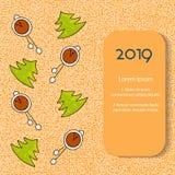 Schöne Weihnachtskarte mit Weihnachtsbaum und Uhren auf orange backgrownd Vektor stock abbildung