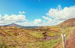 Schöne Weinlese tonte szenische irische Landschaftslandschaft der Art von der Nordwest-achill Insel Stockfotografie