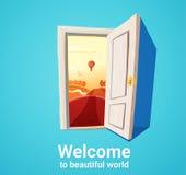 Schöne Welttür Stockbild
