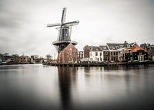 Schöne Windmühlenansicht vom Haarlem-Stadtzentrum an einem bewölkten Tag Stockfotografie