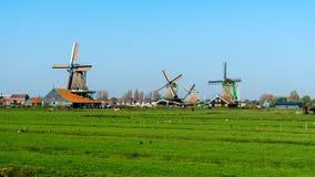 Schöne Windmühlenlandschaft Zaanse Schans in Holland, die Niederlande lizenzfreies stockfoto