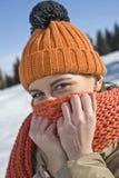 Schöne Winterfrau Stockfoto