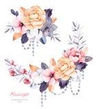 Schöne Winterkollektion mit Niederlassungen, Baumwollsträucher, Blumen, Schnüre der Perle Stockfotos
