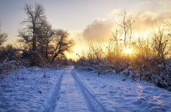 Schöne Winterlandschaft mit Sonnenaufganghimmel Stockfotos