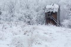 Schöne Winterwindmühlenlandschaft in Ukraine Lizenzfreie Stockbilder