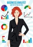 Schöne Wirtschaftsanalytikerfrau Stockfoto