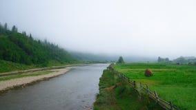 Schöne Wolke, Wälder, Berg nahe Fluss in Ukraine lizenzfreie stockfotografie
