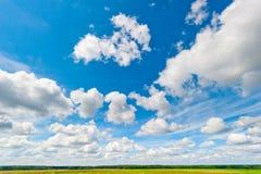 Schöne Wolken und blauer Himmel über Feld und Vorderteilen Lizenzfreies Stockbild