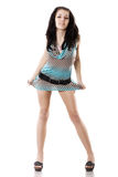 Schöne Yong-Frau im kurzen Kleid lizenzfreies stockfoto
