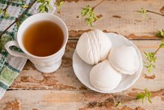 Schöne Zusammensetzung mit Tasse Tee und Eibisch Tasse Tee des Frühlings-Frühstücks A mit einem weißen Eibisch auf einem hölzerne Stockbild