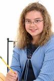 Schöner 12 Einjahresmädchen-Holding-Bleistift Stockfotos