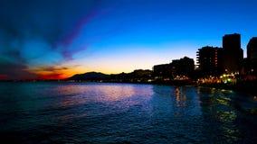 Schöner Abend durch den Strand Stockbild